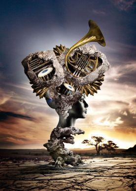 hiper-monumento-con-busto-instrumentos-musicales-y-arboles-pieter-vonk-en-behance