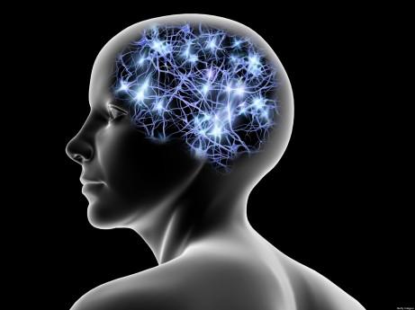 Female head and nerve cells, artwork
