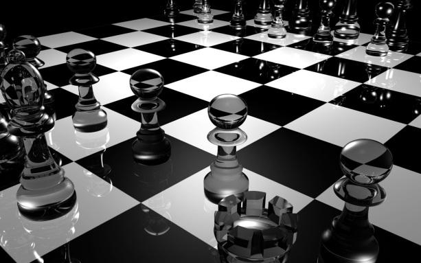 B&W chess board perspective HD 01