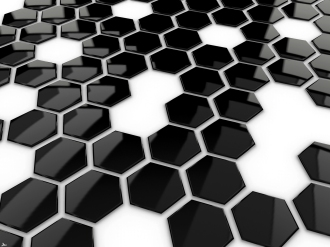 B&W hexagons surface perspective HD 01